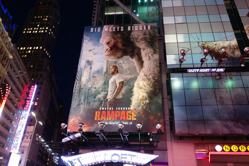Rampage Movie Billboard starring the Rock, Times Square 2018