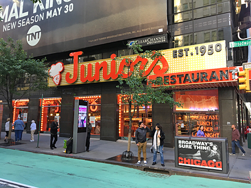 Junior's cheesecake, Times Square, Broadway, NYC